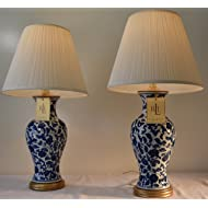 Pair of Two (2) Lauren by Ralph Lauren Meredith Blue and White Flower Porcelain Table Lamps
