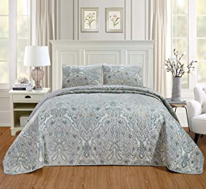 """3-Piece Oversize (California) Cal King (118"""" X 95"""") Quilt Set Micromink Velvet Bedspread Coverlet Fine Printed Warm Winter Bed Cover (Pale Blue, Light Grey, Paisley)"""