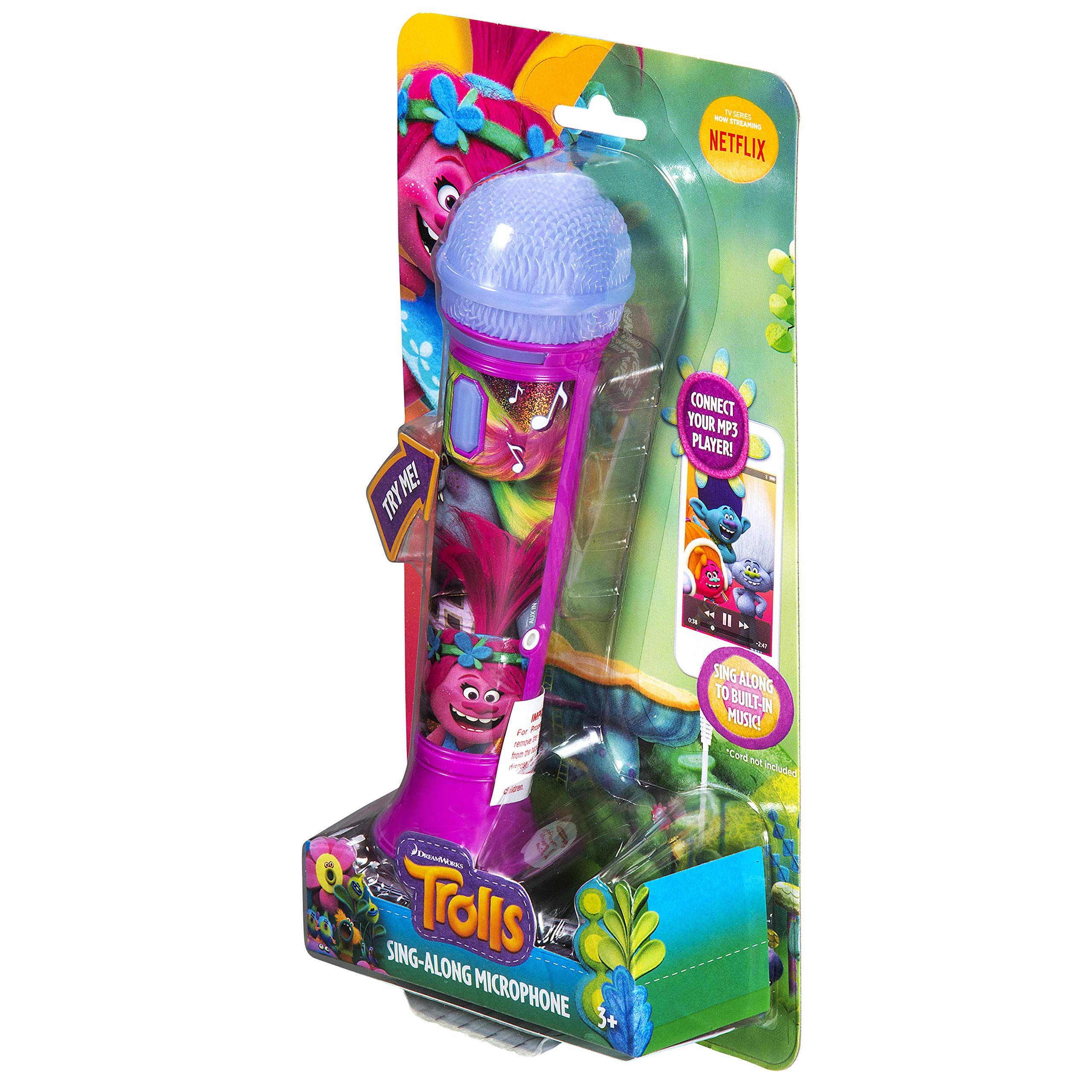 Trolls Sing Along MP3 Microphone Sing to Built in Music or Connect Your Audio Device and Sing to Whatever You Like by eKids (Image #8)