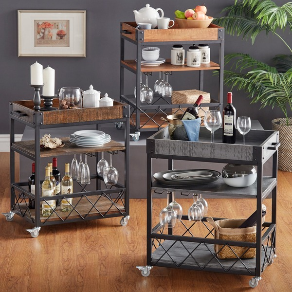 TRIBECCA HOME Myra Rustic Mobile Kitchen Bar Serving Wine Cart with Removable Tray Top - 15741469 - Overstock.com Shopping - Big Discounts on INSPIRE Q Bars