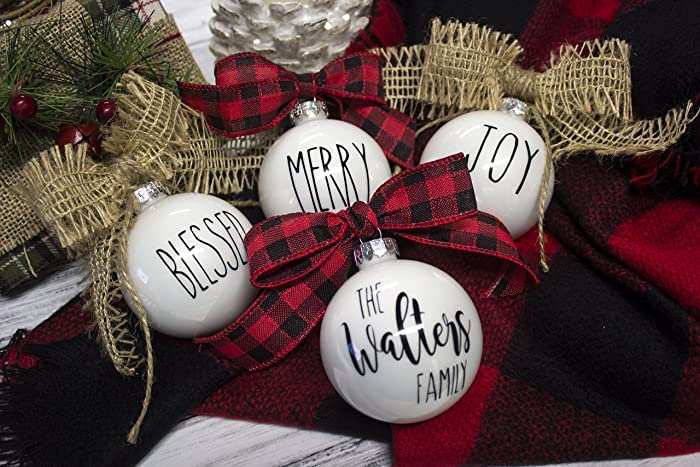 personalized rustic farmhouse christmas ornaments set of 4 ornaments - Farmhouse Christmas Decor