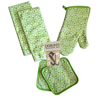 Kitchen Linen Set (Includes: one oven mitt, two pot holders and two dish  towels) (Hex5 Green)
