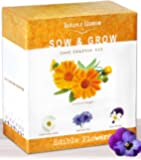 Edible Flower Seed Kit - Grow 4 Culinary Flowers from Seeds. Decoration for Cakes, Cupcakes, Soups & Salads. A Complete Starter Set W/ Organic Planting Pots, Soil, Plant Labels & Growing Instructions