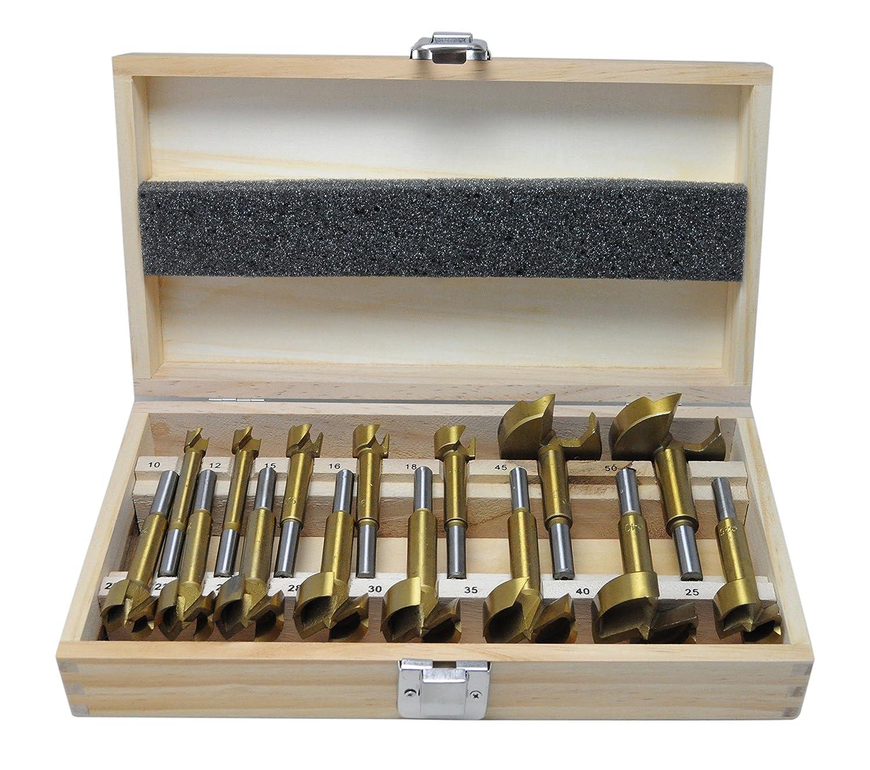 15-tlg. Satz Forstnerbohrer Holzbohrer Kunstlochbohrer 10 - 50 mm TIN beschichtet TITAN WEPO Ltd. & Co. KG