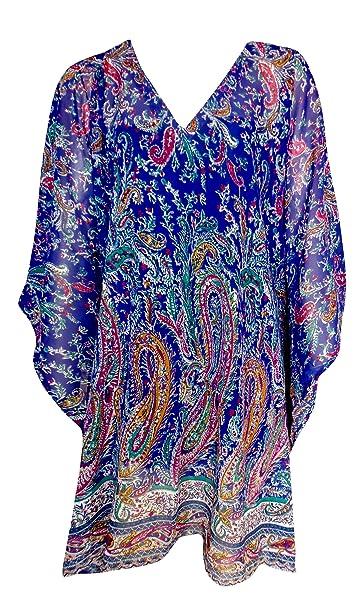 4e4137b12e SUNROSE Blue Paisley Sheer Chiffon Plus Size Beach Cover Up Caftan Kaftan:  Amazon.ca: Clothing & Accessories