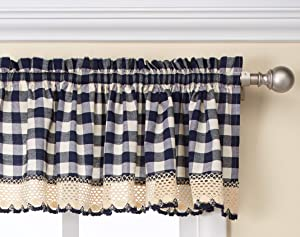 "Achim Home Furnishings Buffalo Check Window Curtain Valance, 58"" x 14"", Navy & Ivory"
