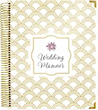 """bloom daily planners Undated Wedding Planner - Hard Cover Wedding Day Planner & Organizer - 9"""" x 11"""" - Gold Foil Scallops"""