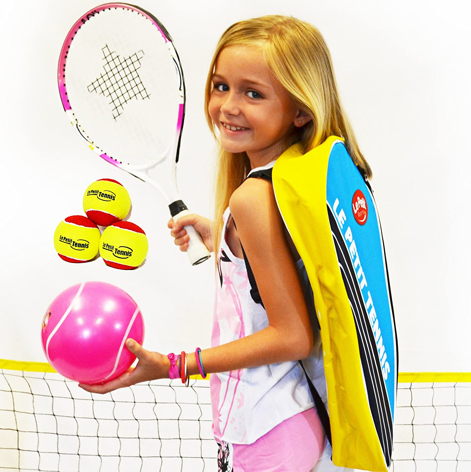 Le Petit Tennis - 17 and 19 in Junior TENNIS TO GO Kit PINK - Includes 1 Tennis Backpack thermo bag, 1 Racquet/racket, 3 Quick Start stage 3 Tennis Balls, 1 tennis net of 9ft and 1 inflatable My First Tennis Ball, 17 Inch Racket (Ages 2 to 4 or 30 to 37 i
