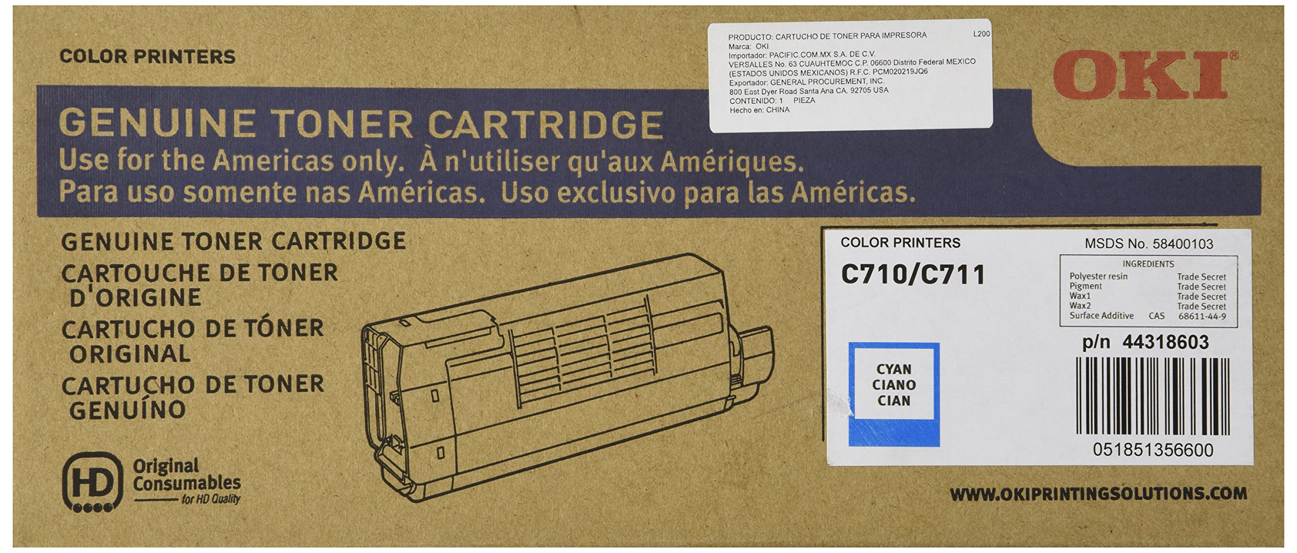 Toner Original OKI DATA 44318603 C711 (Cyan)