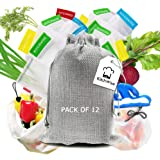 Kitchwise Reusable Produce Bags, Set of 12 Reusable Mesh Produce Bags with Tare Weight Tags,Washable Storage Bags