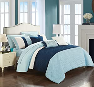 Chic Home Osnat 10 Piece Comforter Set Color Block Quilted Embroidered Design Bed in a Bag Bedding – Sheets Decorative Pillows Shams Included King Blue