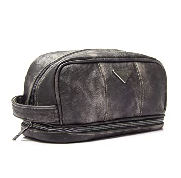 4b77f1759e Amazon.com   LVLY Dopp Kit Leather Toiletry Bag for Men - Travel Bags for Shaving  Grooming and Bathroom Toiletries   Beauty