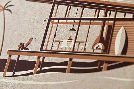 """14/""""x11/"""" Modern Beach House//Cabin, Silkscreen Art Print//Poster DKNG La Jolla"""