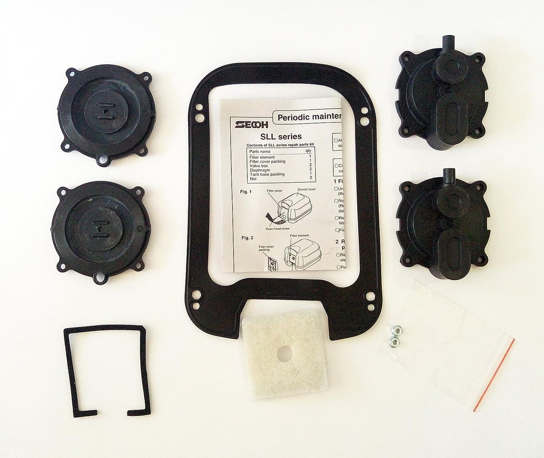 Secoh SLL - Series Air Pump Repair Part Diaphragm Kit DIY for Septic and  Pond Aerator