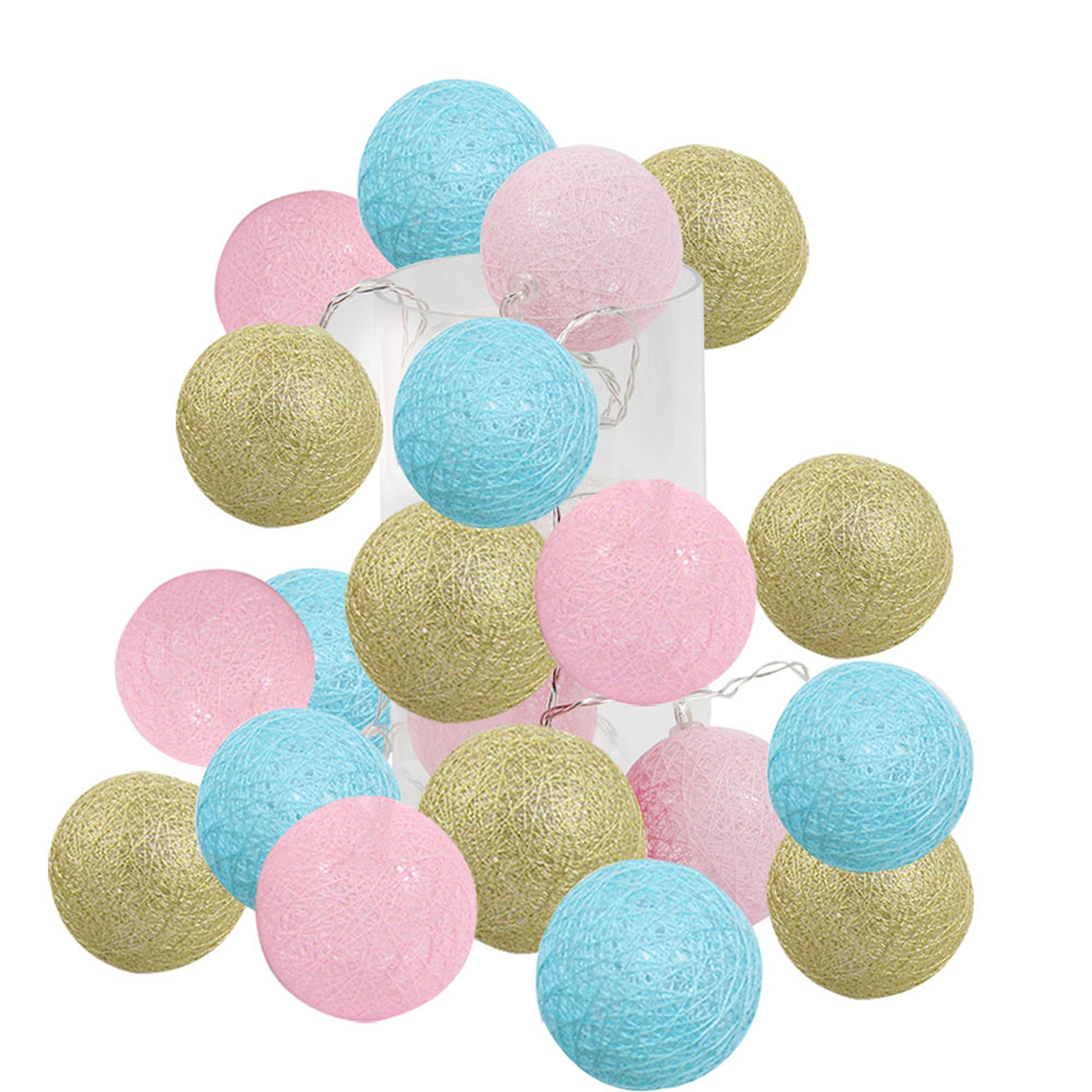 2.5m 20 LED Gender Reveal Party Supplies Boy or Girl Baby Shower Decorations Gold Pink Baby Blue Cotton Balls String Lights Battery Operated Christmas LED Garland Party Decorative Lamp