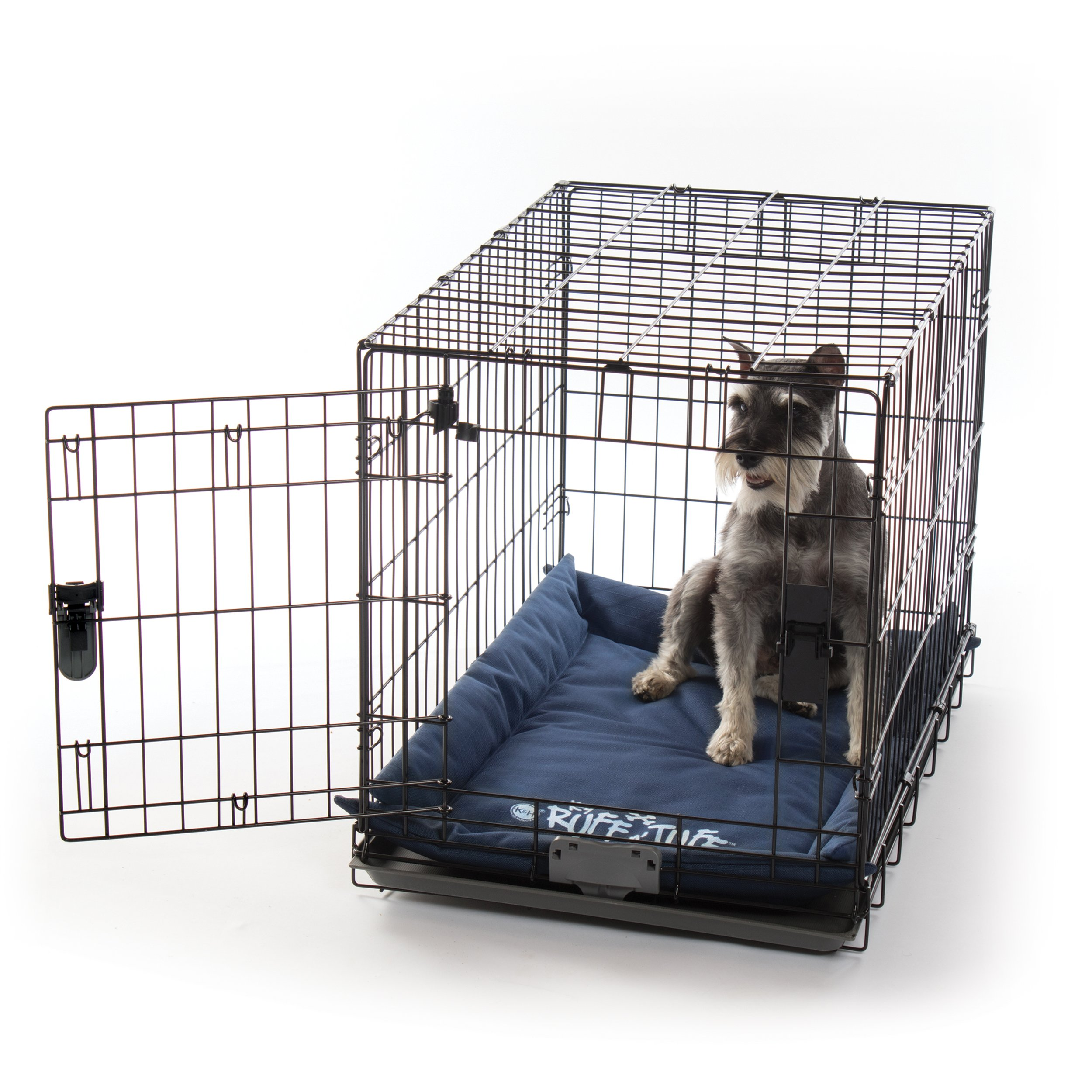 K&H Pet Products K-9 Ruff n' Tuff Crate Pad Medium Navy Blue (21'' x 31'') - 1260 Denier Rip-Stop Polyester for Pets That Need Extra Tough Fabric