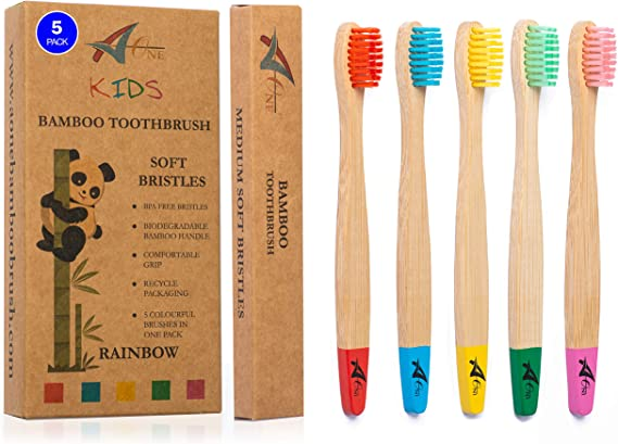 Kids Bamboo Toothbrushes | Organic & Eco-Friendly | 5 Pack in Rainbow Colours | Soft & Gentle BPA-Free Bristles | Children