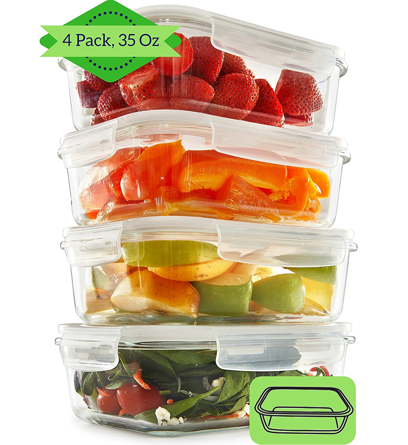 Glass Meal Prep Containers (4 Pack, 1000 ML) - 1 Compartment Food Storage Containers with Vented Lids | Portion Control | BPA Free, Microwave, Oven and Dishwasher Safe | Airtight and Leakproof Reusable Food Containers FIT Strong & Healthy GlassContainerSe