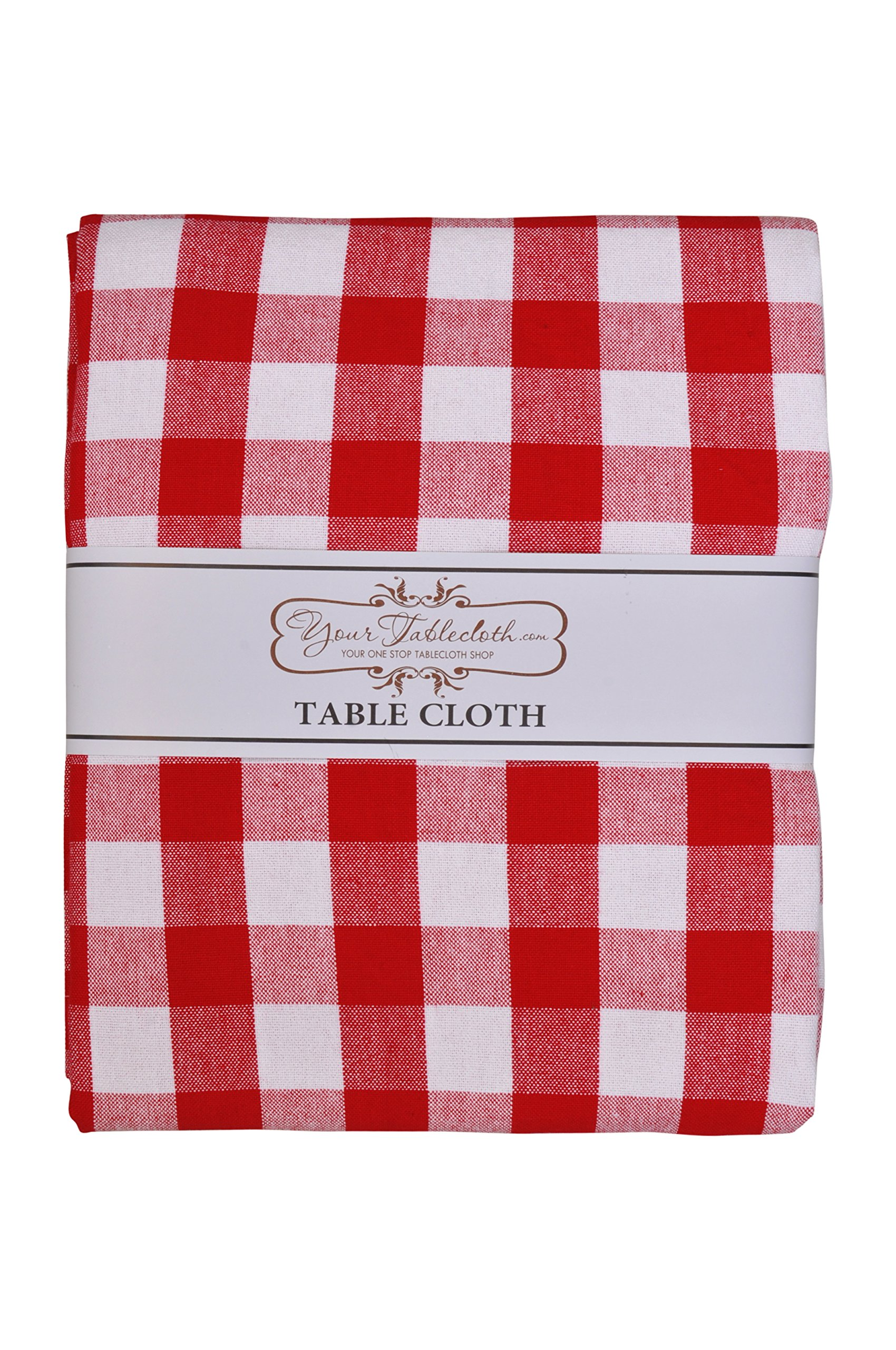 Yourtablecloth 100% Cotton Checkered Buffalo Plaid Tablecloth –for Home, Restaurants, Cafés – Be it for Everyday Dinner Picnic or Occasions like Thanksgiving 60 x 104 Rectangle/Oblong Red and White by Yourtablecloth (Image #4)