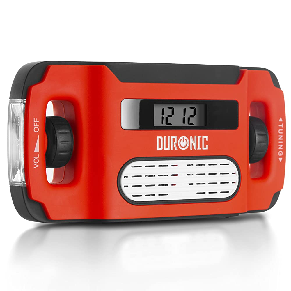 Duronic Apex Digital Display Wind-Up Solar Powered AM/FM Radio Alarm Clock Torch USB charge - NEVER NEEDS BATTERIES