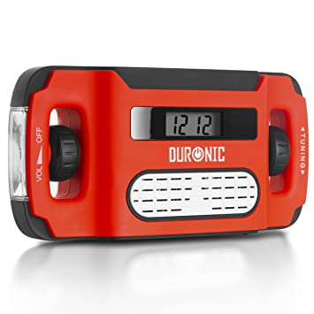 Duronic Apex Radio Am/FM Portátil - Carga Solar, USB o Dinamo - Linterna - Conector de Auriculares y Función de Alarma - Pantalla Digital ...