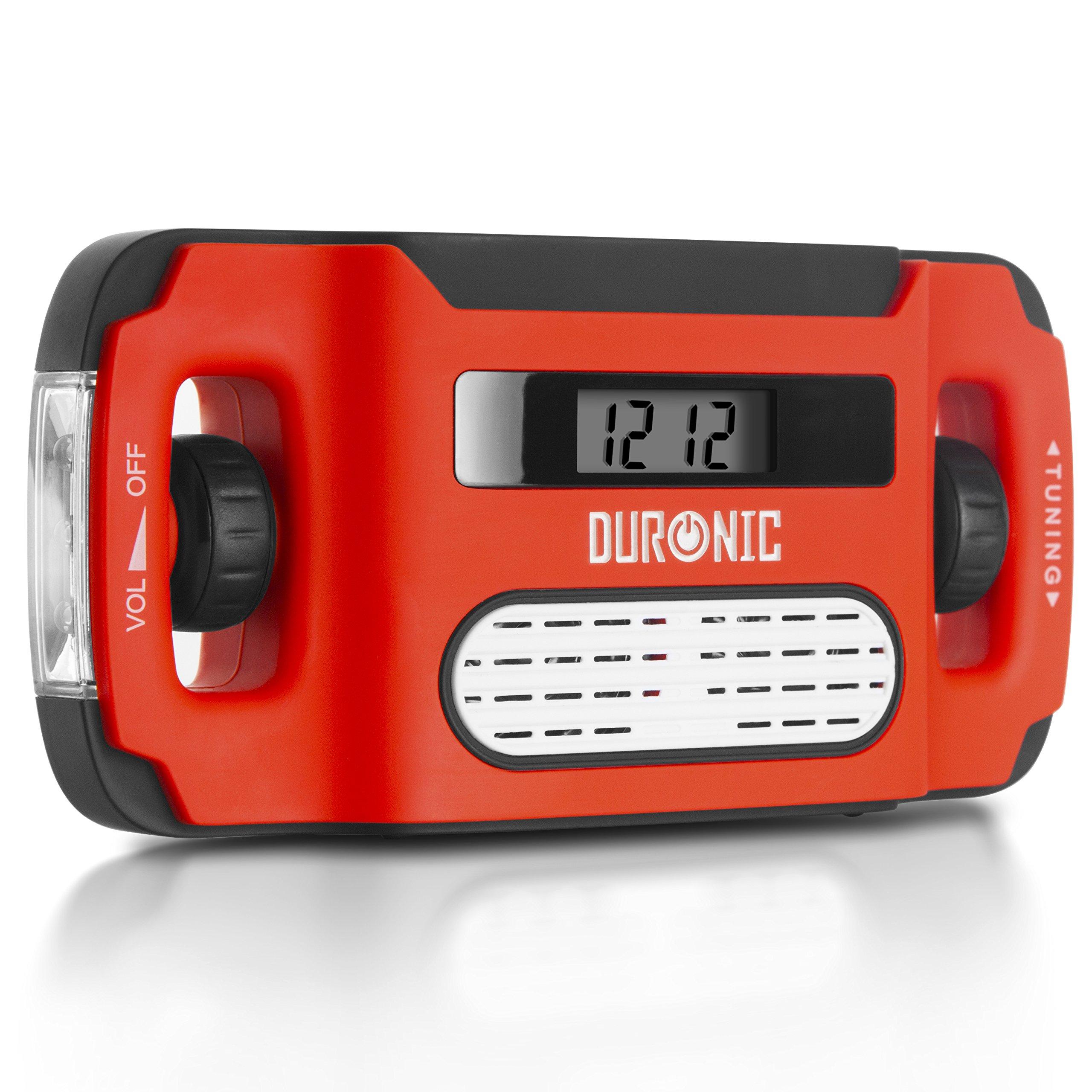 Duronic Apex Radio AM/FM, wiederaufladbar – Solarradio – Kurbelradio – Solarenergie, Handkurbel und USB-Ladegerät – mit Radiowecker und Taschenlampe product image