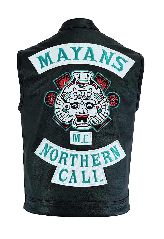 Mayans - Chaleco de Piel sin Mangas - Estilo Sons of Anarchy ...