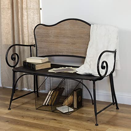 Astonishing Amazon Com Vipssci Black Metal Bench With Wood Back Rustic Creativecarmelina Interior Chair Design Creativecarmelinacom