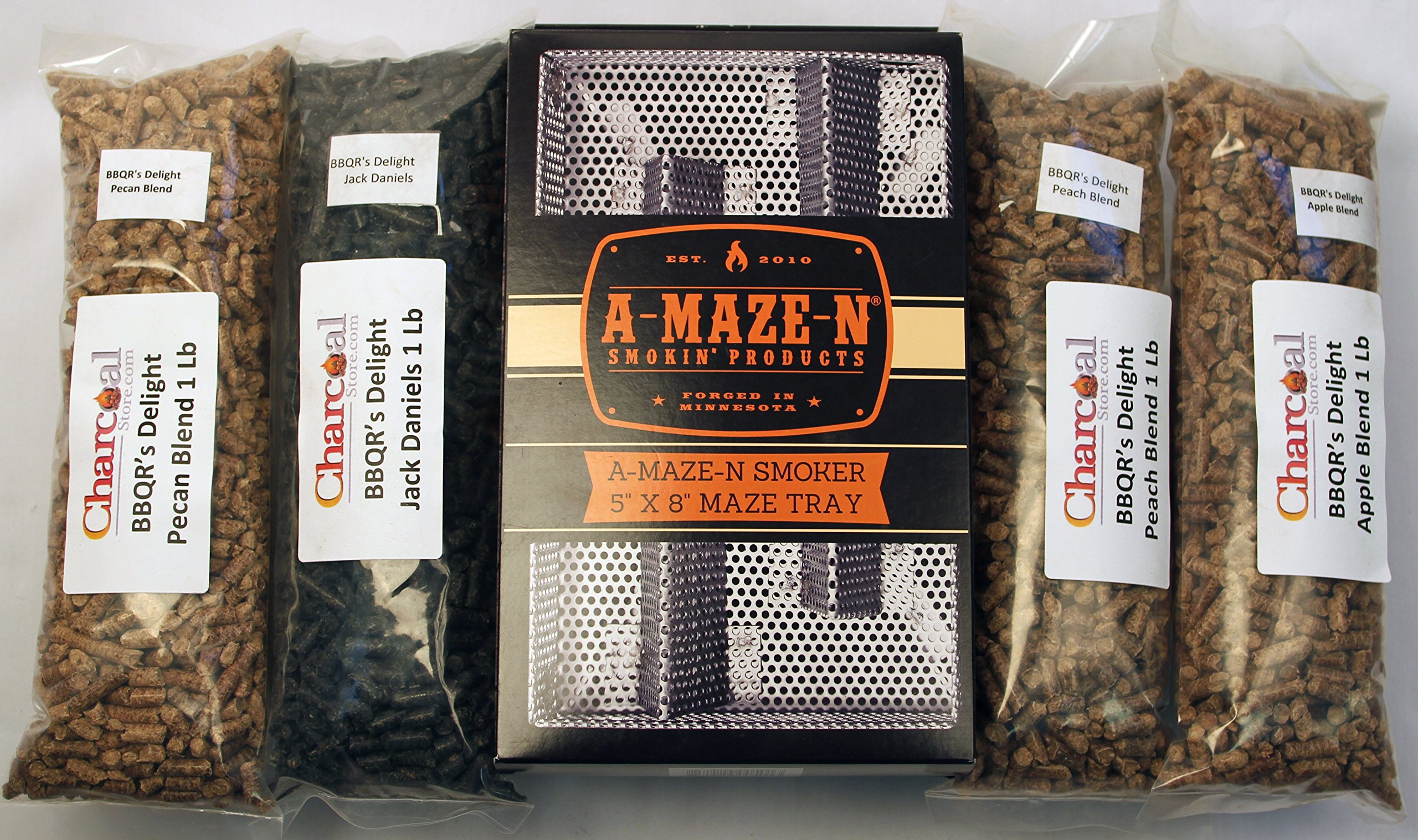 CharcoalStore A-MAZE-N Pellet Smoker 5x8 BBQR's Delight Combo Pack Includes 1 Lb Each of Jack Daniels, Peach, Apple and Pecan Pellets.