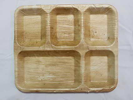 Greenfare Eco-friendly Areca Leaf Party Disposable Plates - Rectangle 5 Compartment set of 20 & Buy Greenfare Eco-friendly Areca Leaf Party Disposable Plates ...