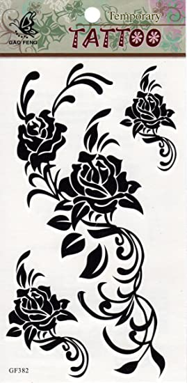 Roses Flowers Thorns Tattoo Mix Cool Sexy Temporary Tattoos Body Art
