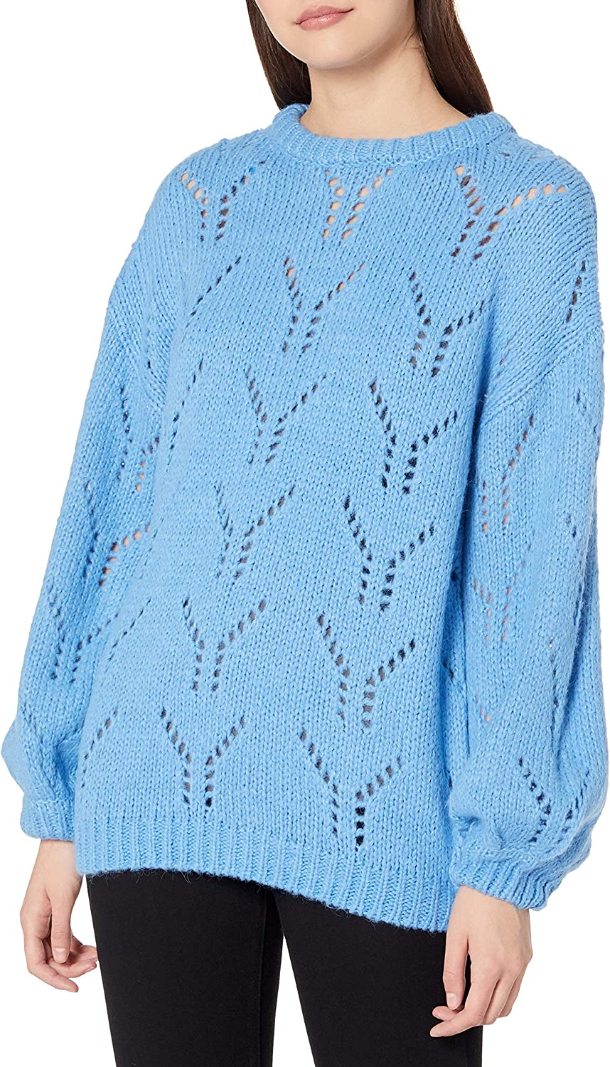 J.O.A. Dealing full price reduction Women's Balloon Max 77% OFF Sleeve Sweater Pointelle