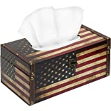 Decorative Vintage Patriotic American Flag Design Hinged Refillable Tissue Box Holder Cover - MyGift