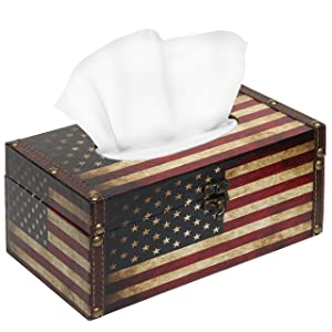 MyGift Decorative Vintage Patriotic American Flag Design Hinged Refillable Tissue Box Holder Cover