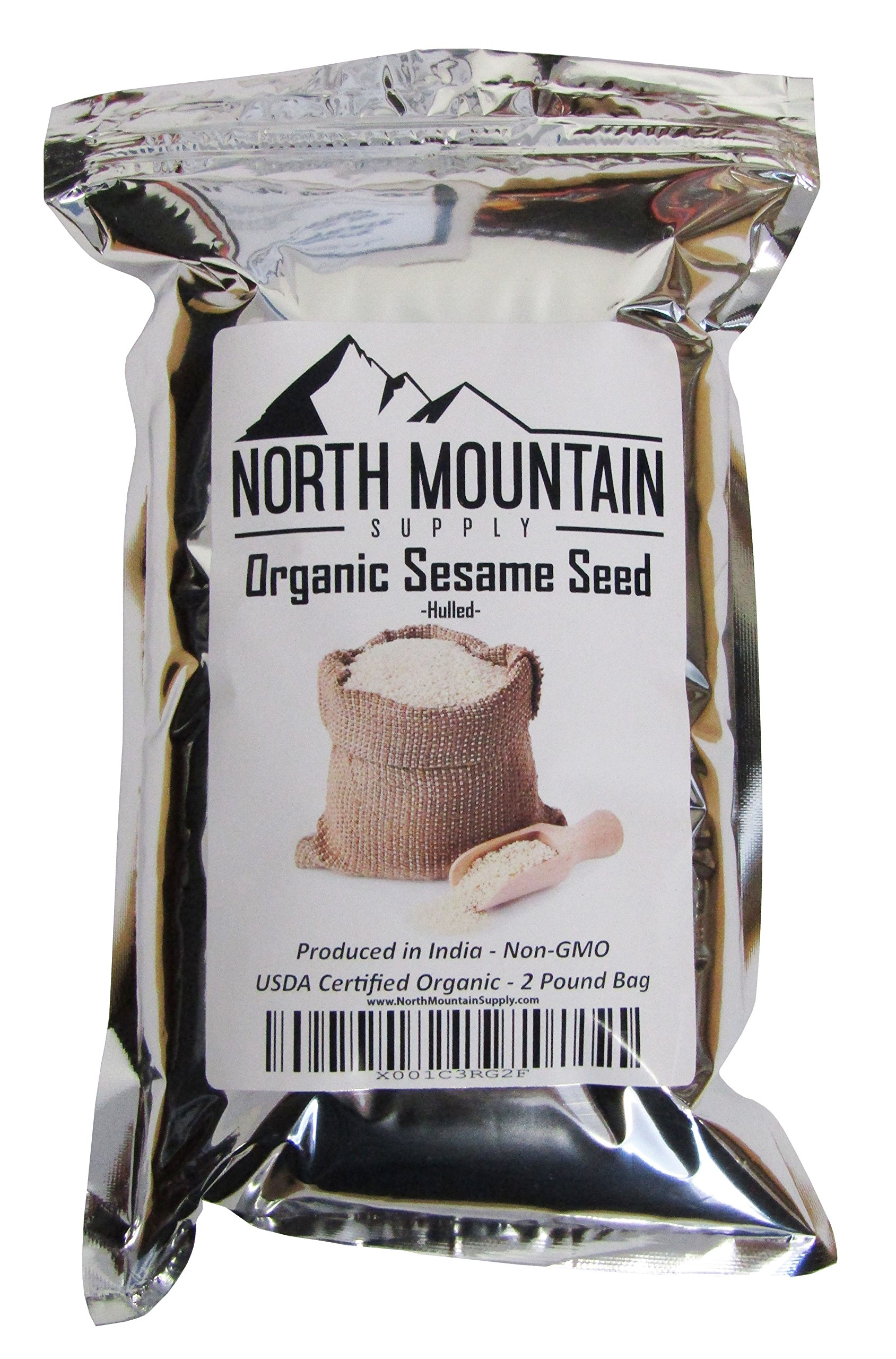 North Mountain Supply Organic Raw Sesame Seed Hulled - Produced in India (2 Pounds)