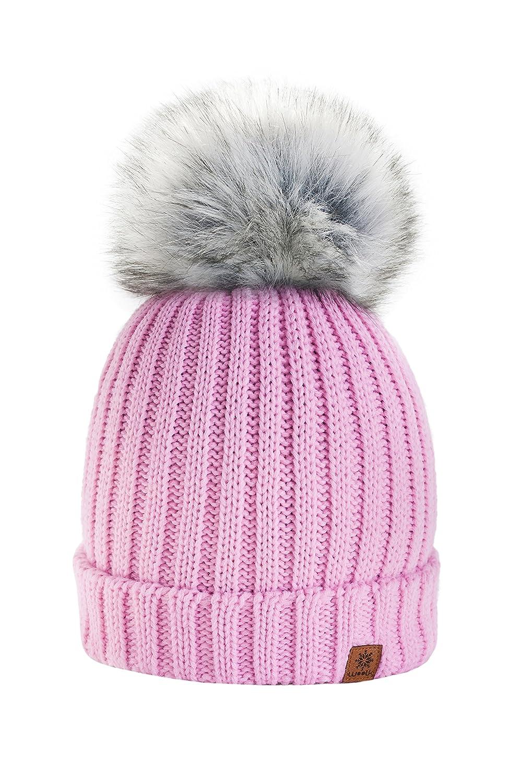 4sold Rita Girls冬帽子ウールニットBeanie with Largeファーポンポン付きキャップスキースノーボード帽子Bobble Oneサイズ  ピンク B01LDCD7TE