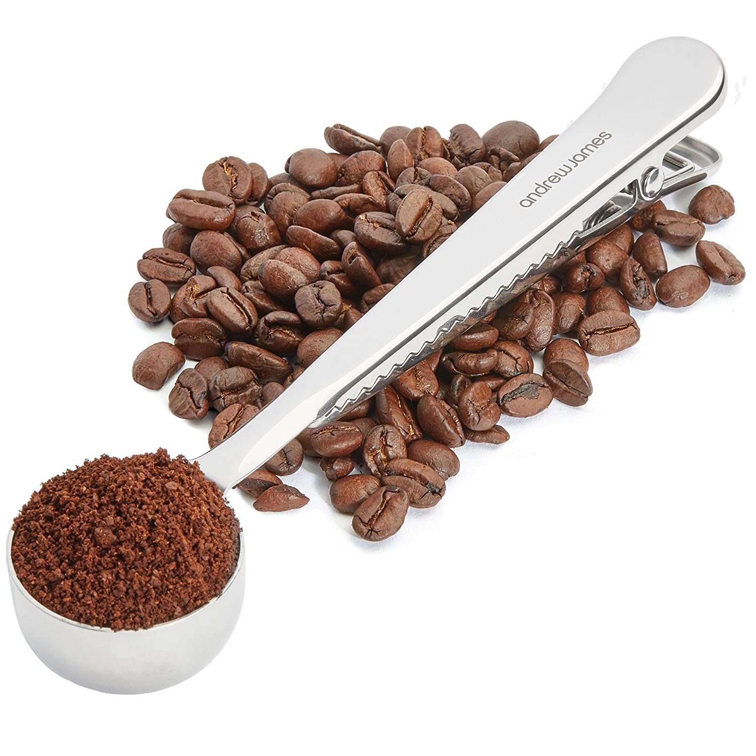 Andrew James Coffee Measuring Spoon with Bag Sealing Clip | Stainless Steel | 7g Scoop