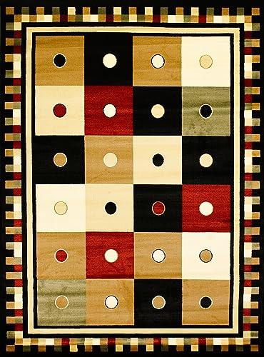 Contemporary Black Multi-Color Rug Modern Geometric Symmetrical Square Design Rug Stain Resistant Area Rug 8 x 11