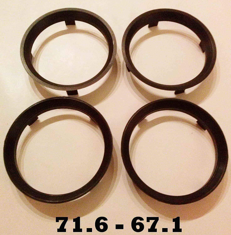 71, 6 - 67, 1 Set di 4 LEGA Anelli zipolo ruote Mozzo Centrici spaziatore Bimecc
