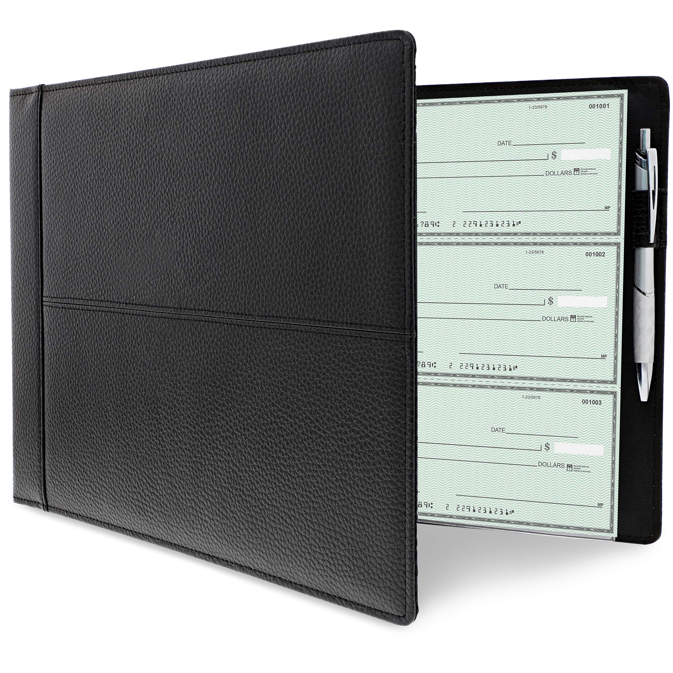 Juvale 7 Ring Business Check Binder, Holds 600 Checks, 3 on a Page, 14 x 2 x 10 Inches by Juvale