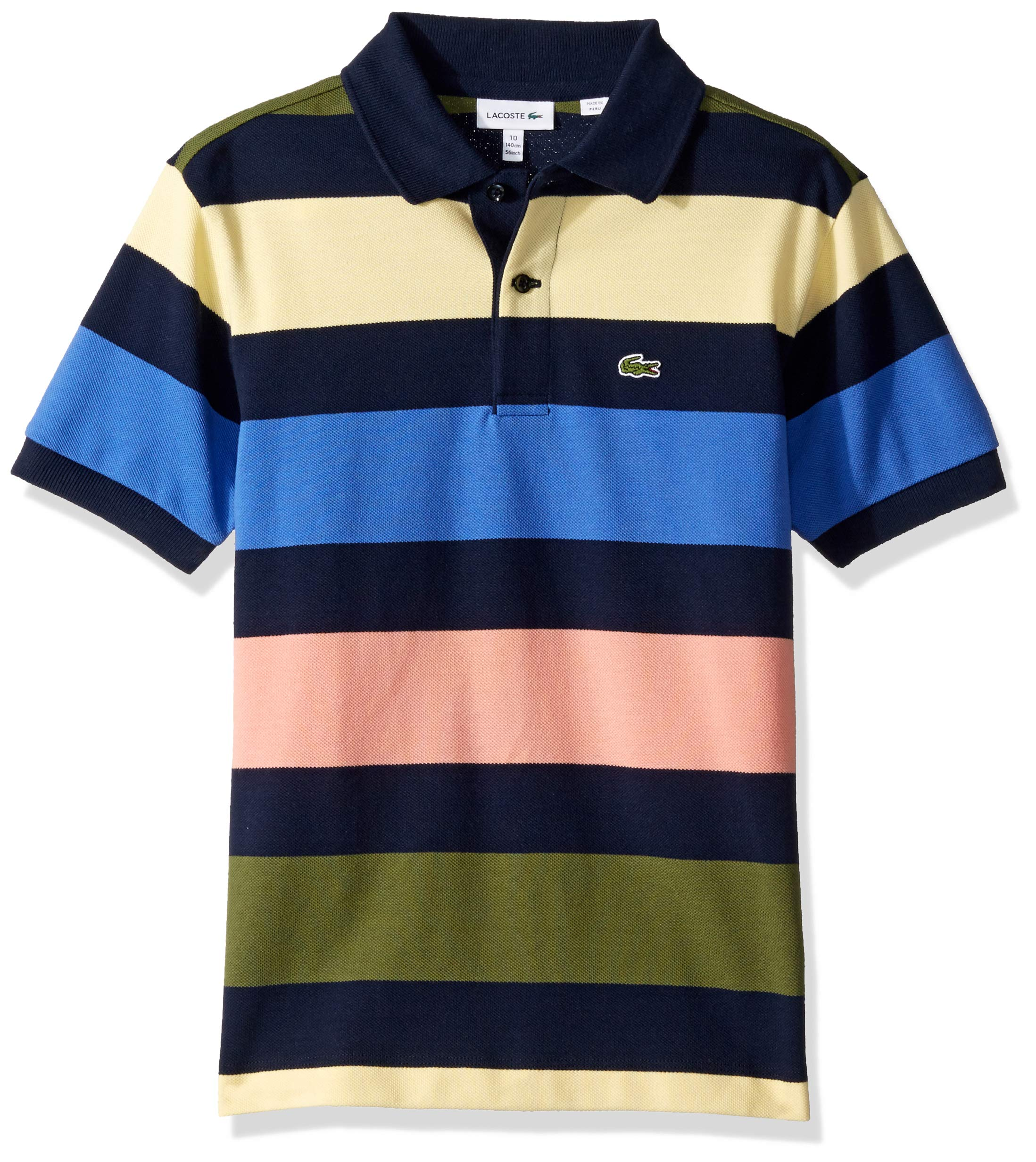 Lacoste Little BOY Colorful Striped Pique Polo, Navy Blue/Multi, 4YR