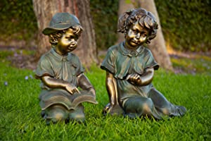 Alpine Boy and Girl Reading Together Statue, 20 Inch Tall