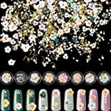 8 Sets Flower Nail Rhinestones Mixed Holographic Nail Art Artificial Pearl Crystal Flower Nail Metal Charms Flowers 3D Nail Art Jewelry Charms for Women Girl DIY Nail Art Craft Decoration