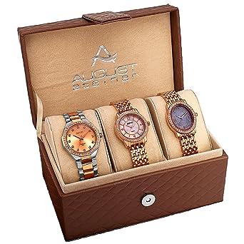 90c0d5f77fe7 Amazon.com  August Steiner Women s AS8063RG Dazzling Diamond Swiss Quartz 3  Watch Set  August Steiner  Watches