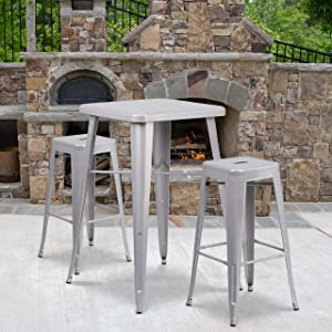 "Flash Furniture Commercial Grade 23.75"" Square Silver Metal Indoor-Outdoor Bar Table Set with 2 Square Seat Backless Stools"