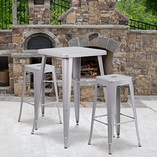 Deal of the week: Flash Furniture 4 Pack Commercial Grade 30″ High Backless Silver Metal Indoor-Outdoor Barstool