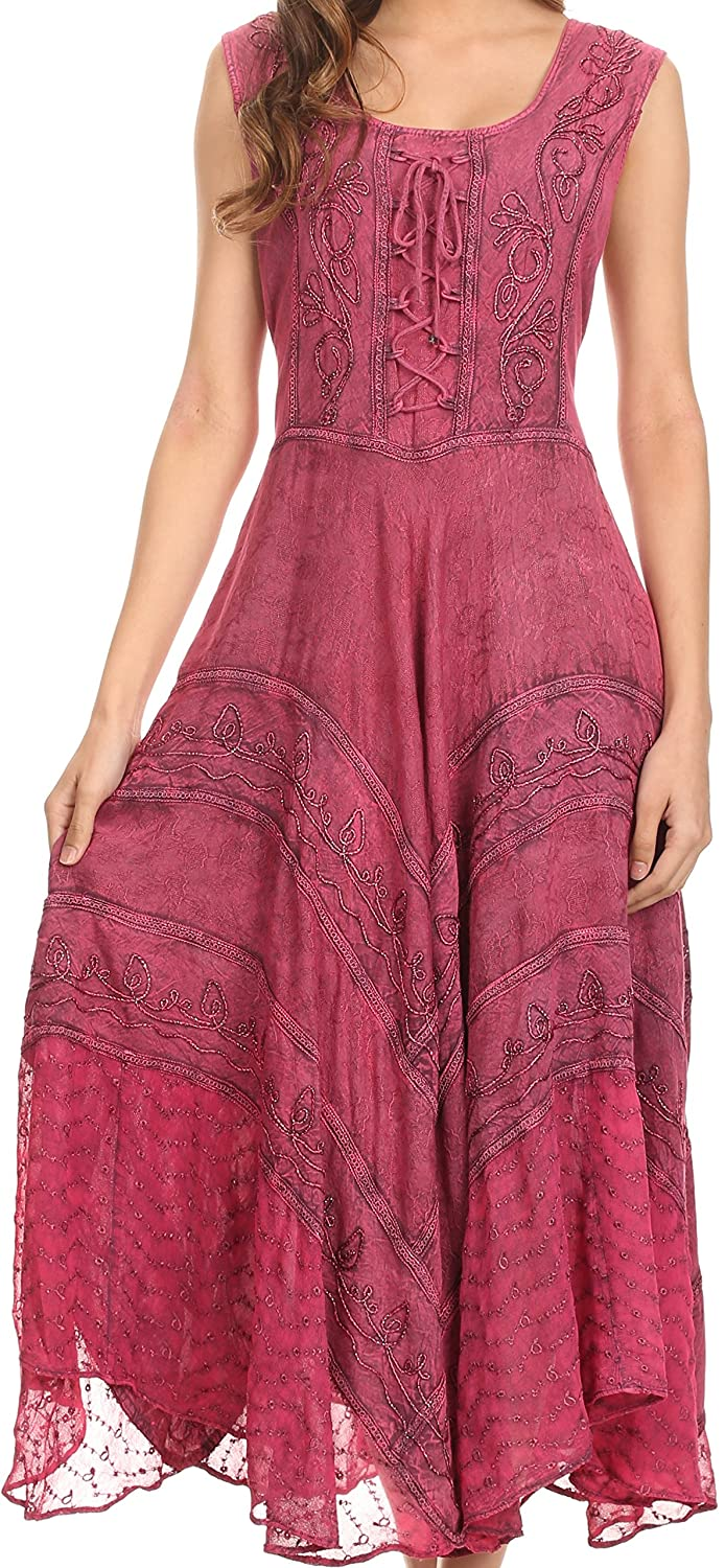 Sakkas Kevina Stonewashed Rayon Embroidered Dress
