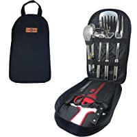 Gr8 4 BBQ | 9 Piece Camp Kitchen Utensils Set with Carrying Bag | Stainless Steel Cooking Tools Lightweight Portable Kit…