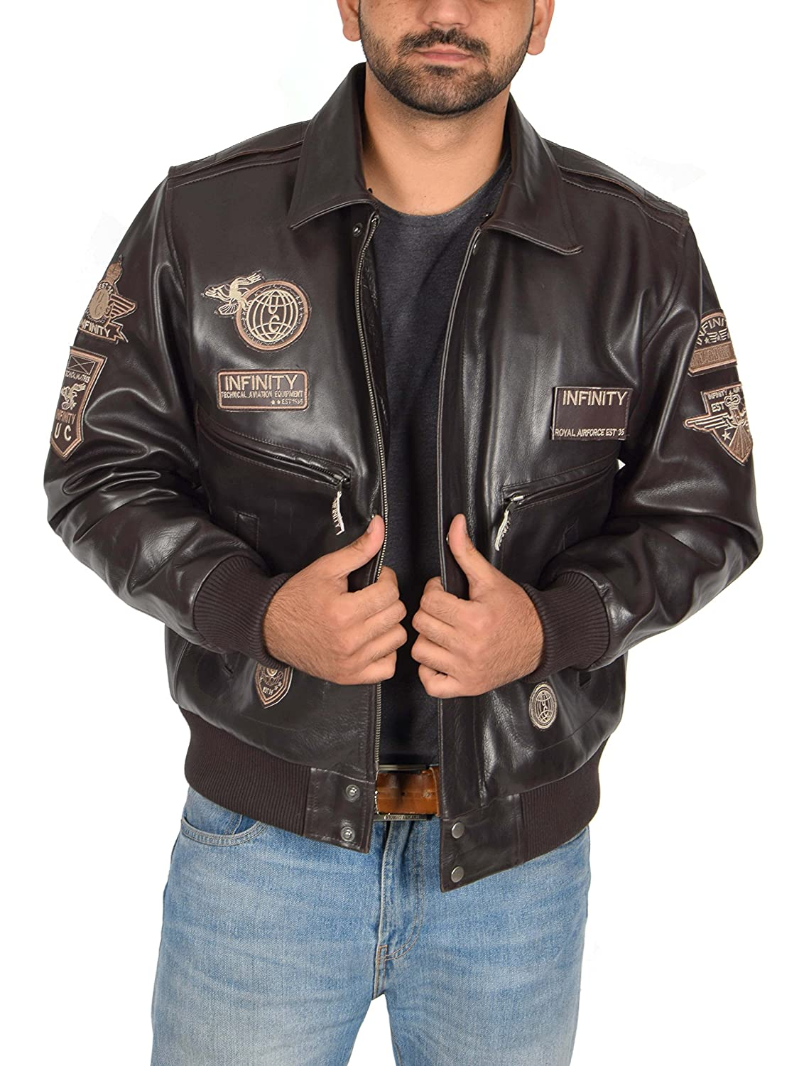 Mens Leather Aviator Flying Pilot Bomber Jacket Air Force ...