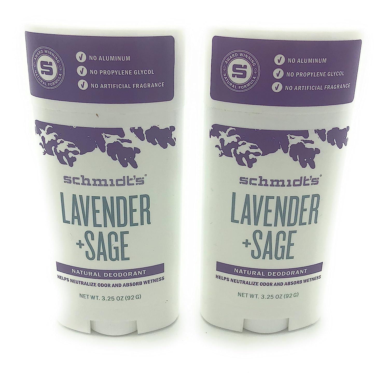 Schmidt's Deodorant, Lavender + Sage, (92 G), 3.25 Ounce, Pack of 2